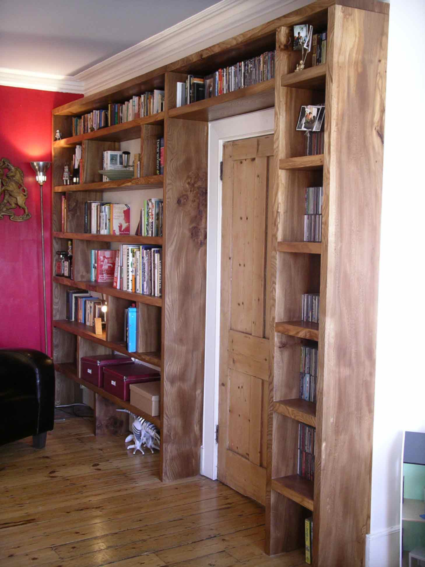 fitted bookcase in solid english elm