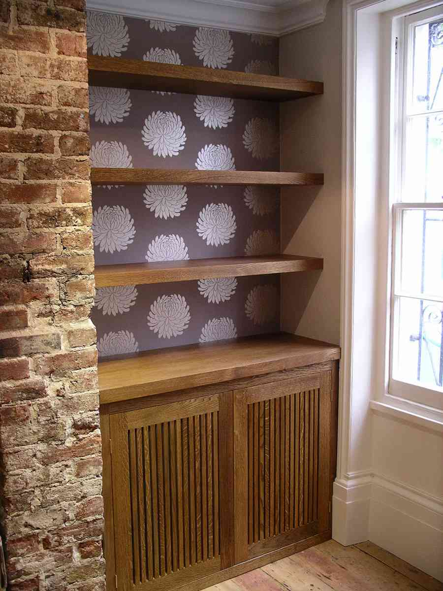 custom made audio cabinet with slatted doors