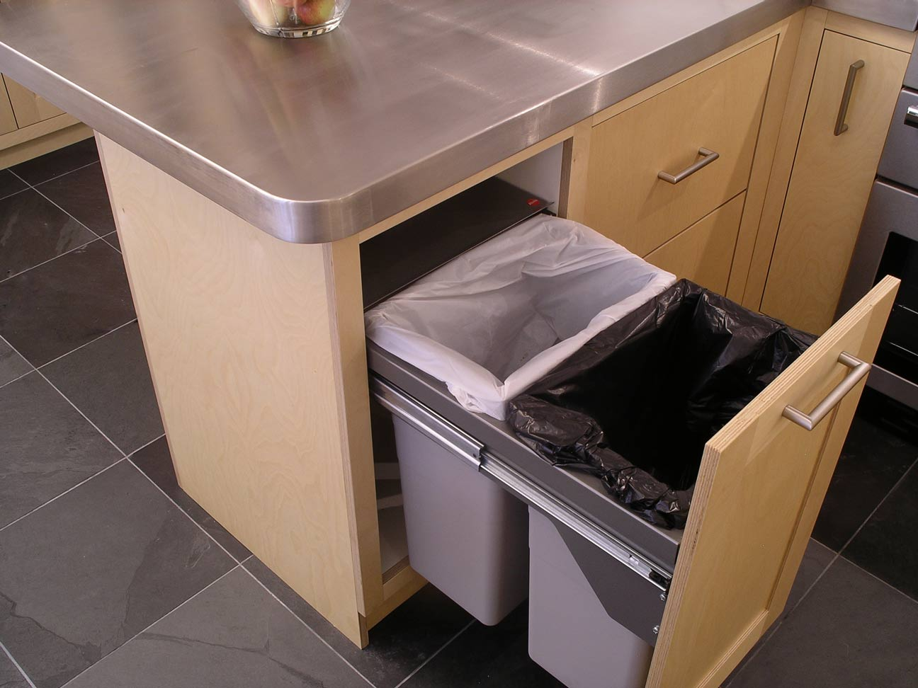 pull-out kitchen bins in fitted kitchen