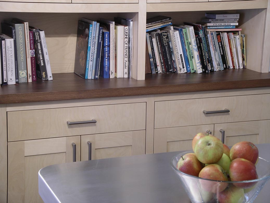 fully framed contemporary style sideboard in birch plwood and solid dark oak