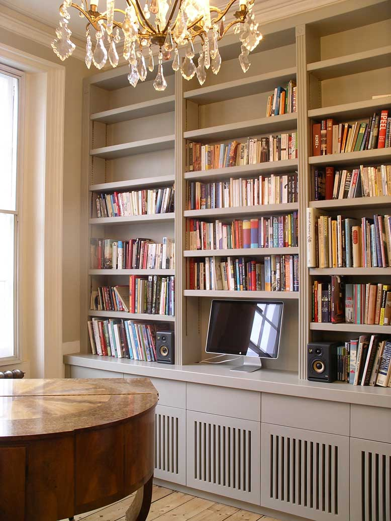 handmade built in bookcase with cabinets