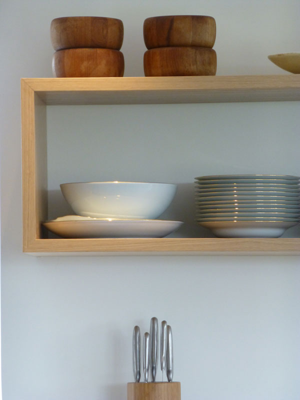bespoke oak shelving on concealed fixings