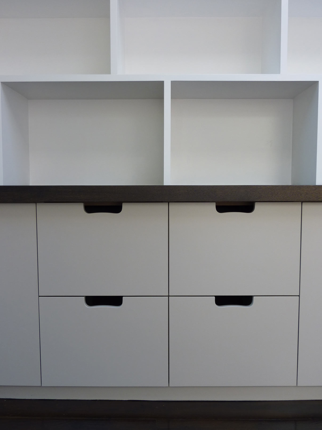 custom made hanging file drawers are part of a cabinet for a fitted study, cabinetmakers Peter Henderson Furniture