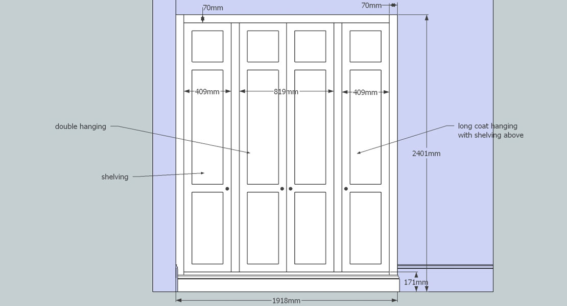 Custom made fitted cupboard 3D design drawing