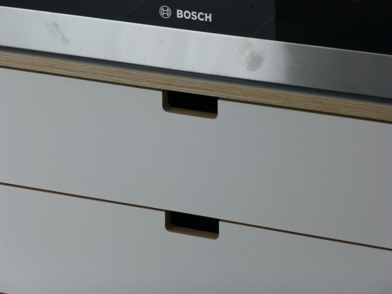 cut-out drawer handles in bespoke kitchen