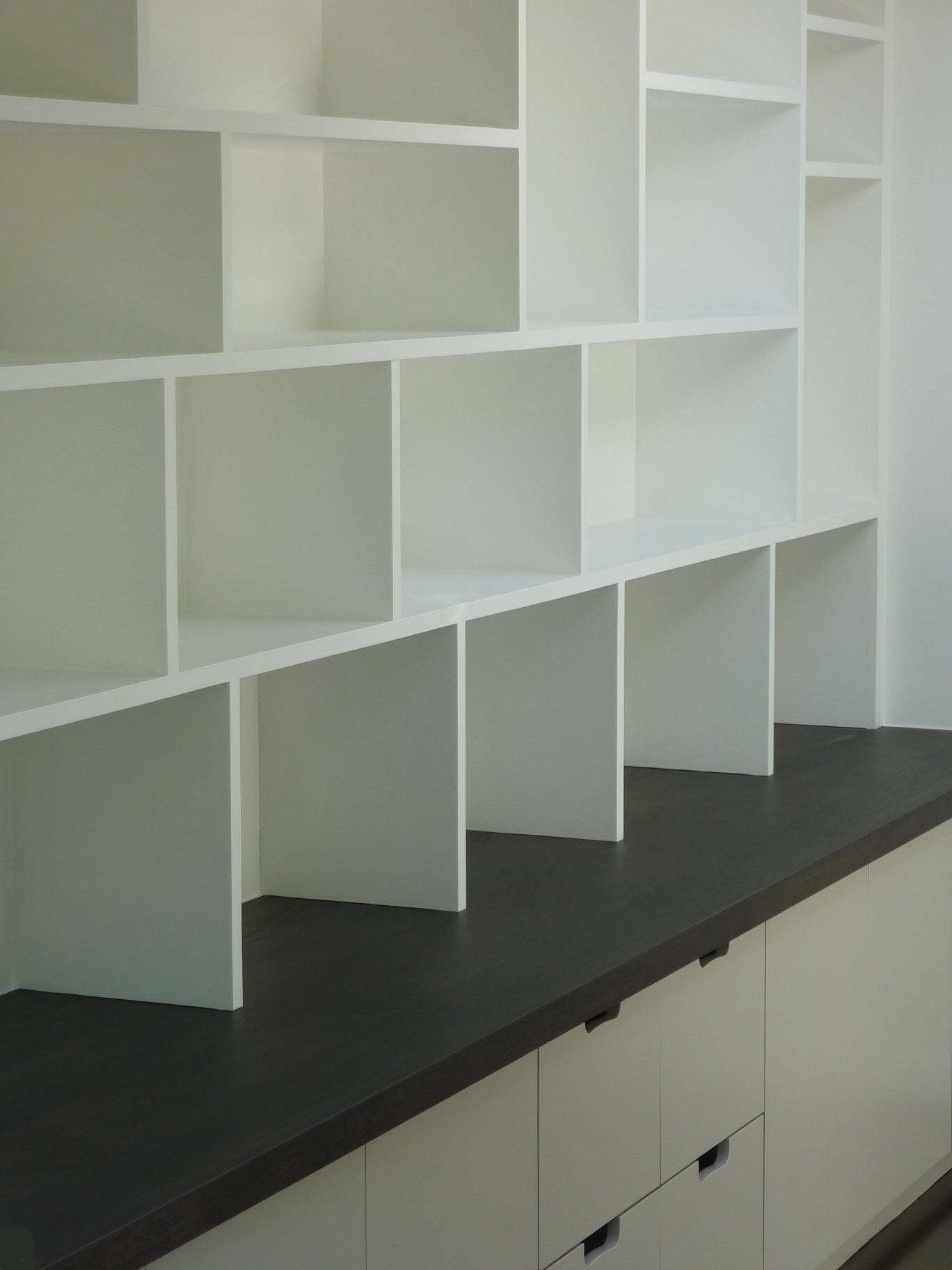 custo made home study bookcase with storage cabinet