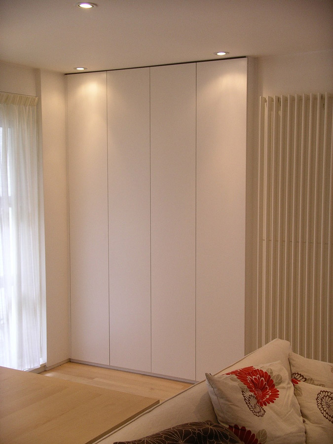 contemporary style flush cabinet with flat push-click doors hand built by Peter Henderson, Brighton UK