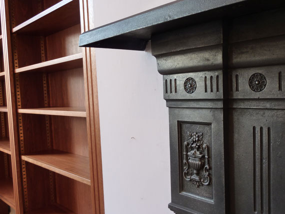 bookcase fluting matches period fireplace