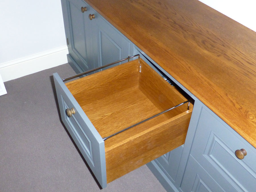 hanging file drawer in solid oak cutom made for home office