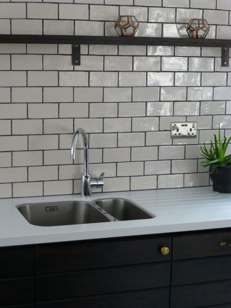 subway tiles plank shelf industrial iron brackets
