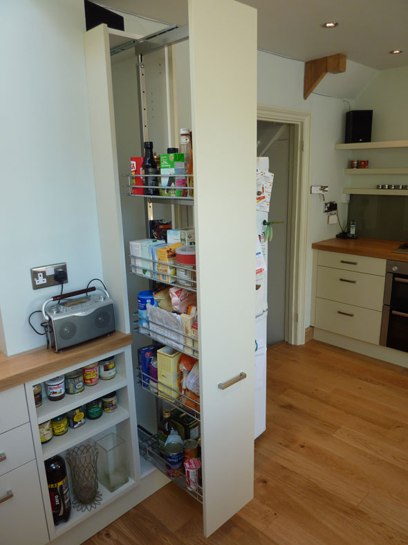 pull-out larder cabinet in bespoke kitchen