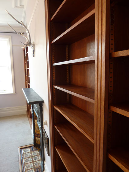 study with handmade hardwood bookcase for period interior design