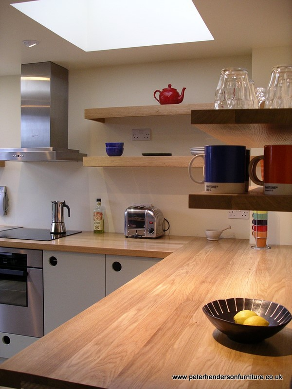 handmade kitchen worktop using full length planks