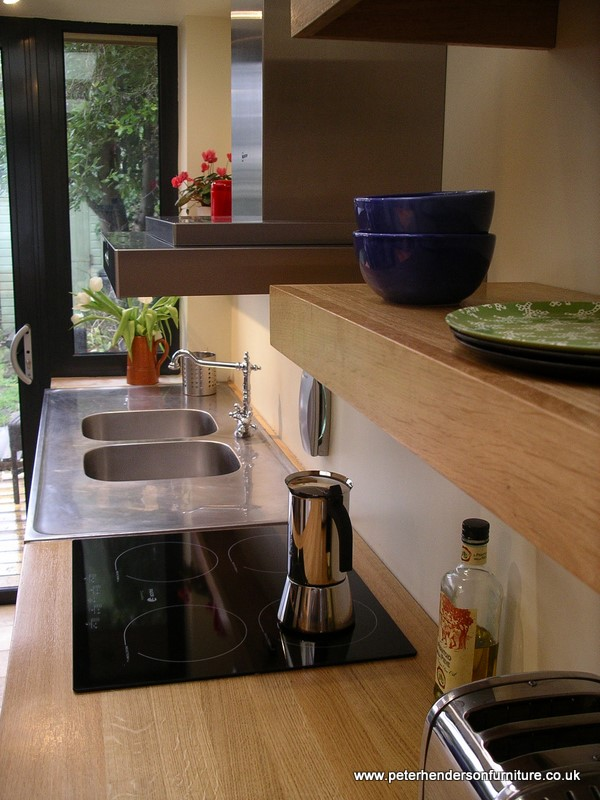 bespoke oak worktop and floating shelves