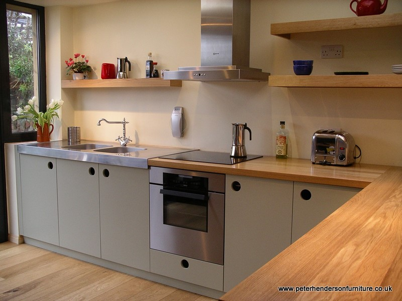 oak and french grey kitchen bespoke design by Peter Henderson