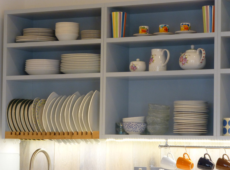 open shelf and plate rack in handmade kitchen