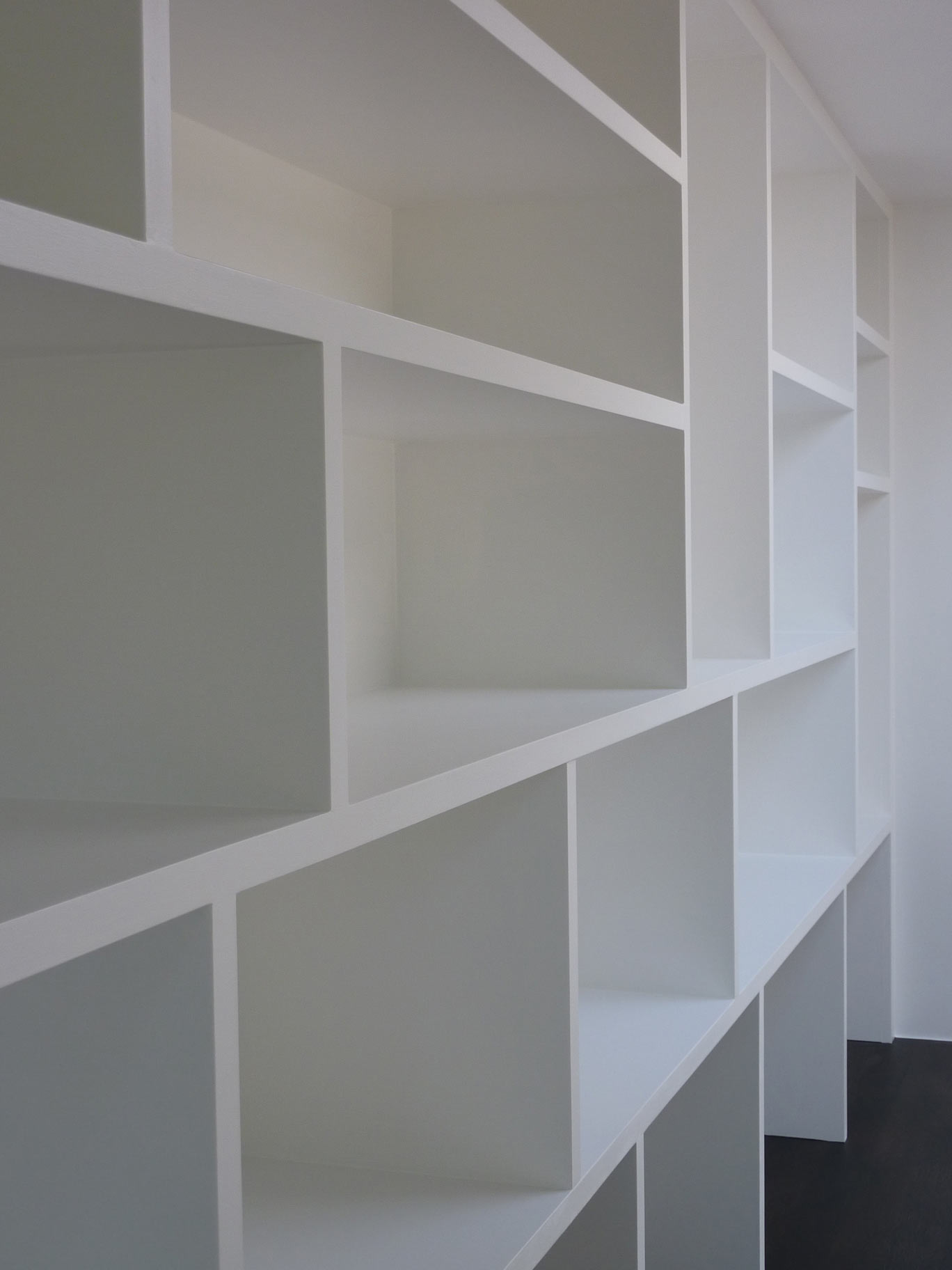 handmade bookcase with pigeon-hole shelving style for bespoke home office