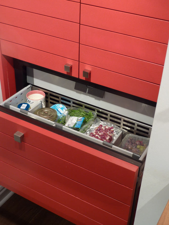 Norcool drawer refrigerator in hand built larder cabinet