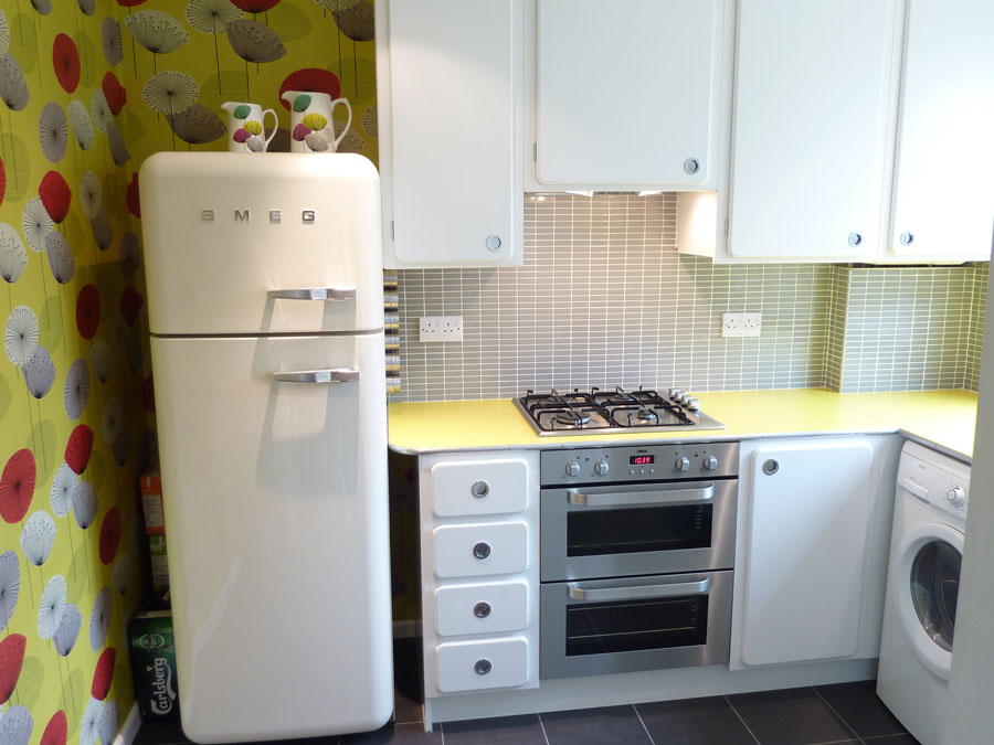 50's kitchen with Smeg fridge