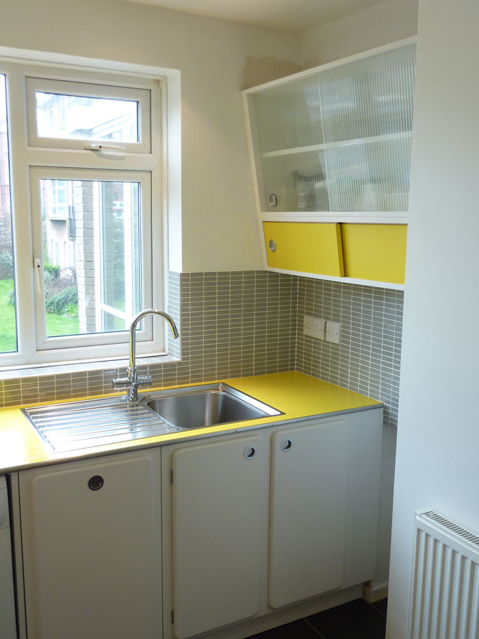 custom built retro 50's kitchen with formica worktop