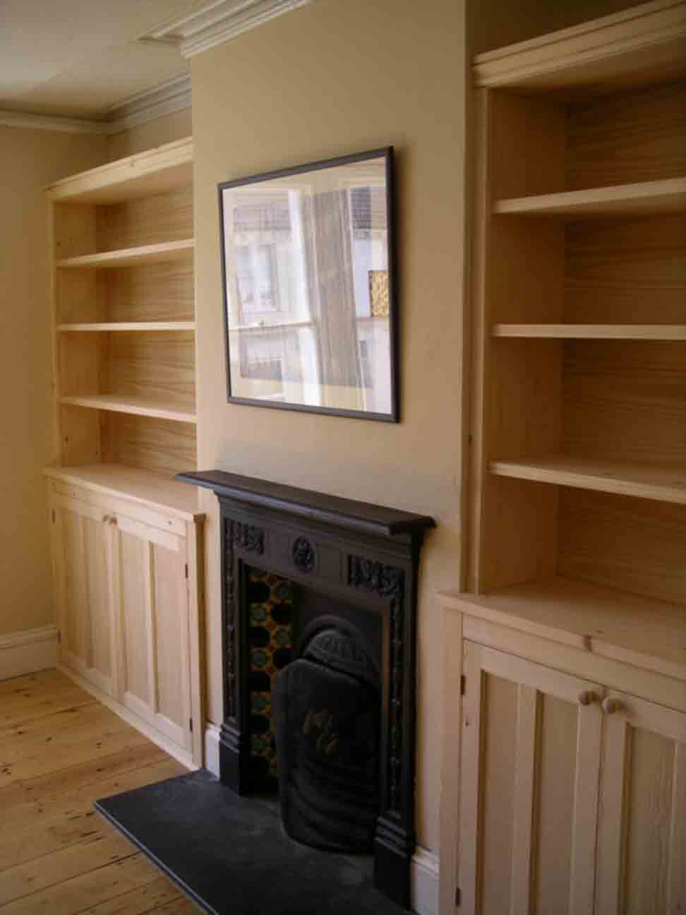bespoke fitted alcove cupboards in pine