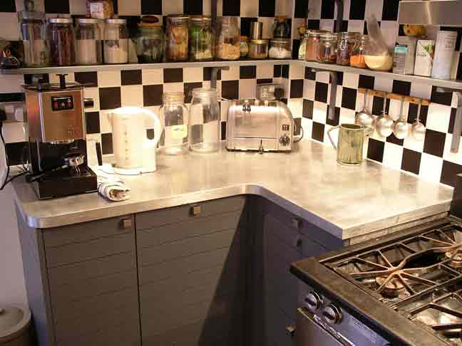 custom made contemporary kitchen with zinc worktops