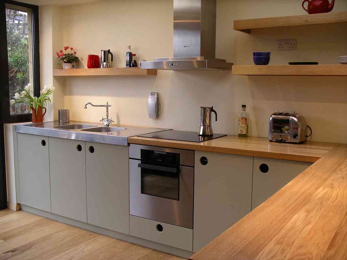 contemporary handmade kitchen in oak and french grey