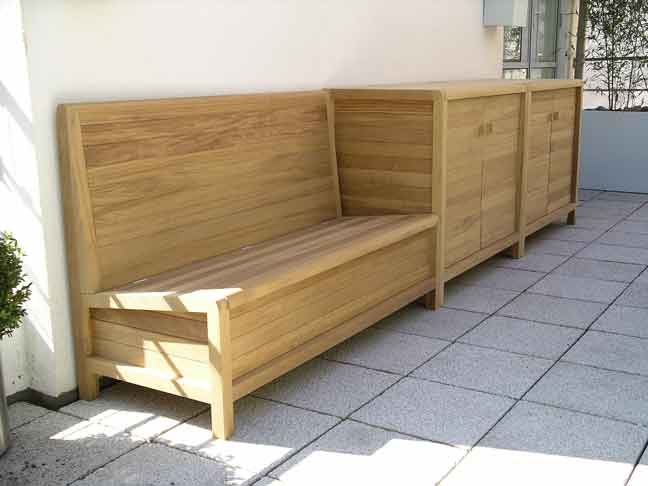 bespoke patio seating and cabinet in solid iroko