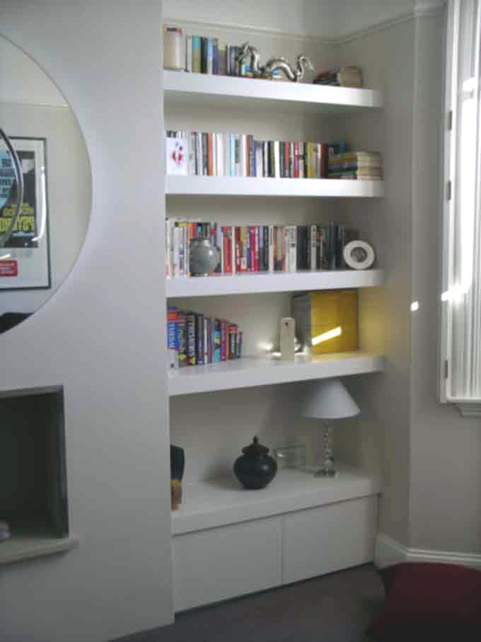 contemporary fitted alcove cupboard with floating shelves